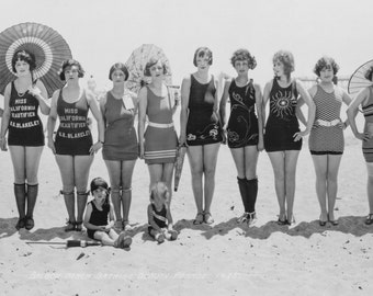 Bathing Beauties, Panoramic Photo, 1925,  Black White Photography, Balboa Beach, Summer, Flappers, Girlfriends, Beach Decor