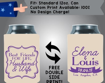 Best Friends For Life Husband & Wife Names Date City State Collapsible Fabric Wedding Cooler Double Side Print (W155)