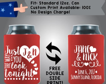 Just The Way You Look Tonight Collapsible Fabric Wedding Can Coolers, Cheap Can Coolers,  Wedding Favors (W282)
