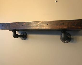 Rustic Industrial Pine Shelf with Pipe Brackets