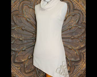 Ivory Cowl Neck Sleeveless Tunic with Asymmetrical hem, Ivory Sleeveless women's top, Ivory sleeveless Tee, Ivory sleeveless Top