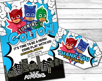 PJMasks invitation, PJMasks Birthday invitation, PJMasks invite, PJMasks printables, Digital file, Personalised, Cartoon invite
