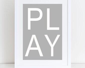 Play Print- Playroom Sign, Play Print, Playroom Print, Playroom Decor, Kids Playroom Poster