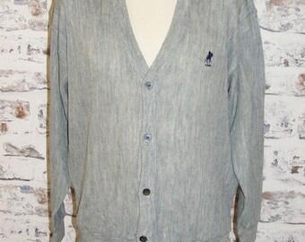 "Size L 42"" US Polo Assoc vintage 80s v-neck button cardigan grey (GP61)"
