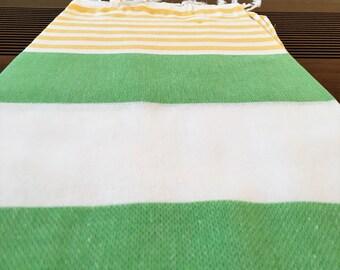 "50% Off - SALE - Turkish Peshtemal - Green Yellow Striped - 100x180 cm / 40""x71"" -RugAndRoll- Spa Towel Turkish Towel Beach Towel Bath Towel"