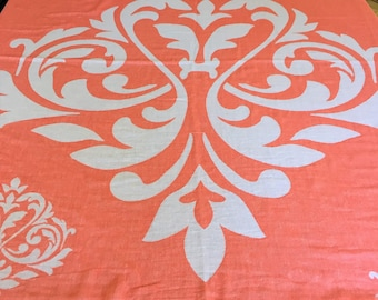 "50% Off - SALE - Throw - Double Sided - Coral and White - 190x240 cm / 75""x95"" - RugAndRoll- Turkish Blanket Turkish Throw Turkish Peshtemal"