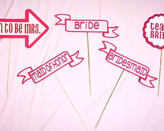 set of 5 photo booth props | Bride, Bridesmaid, & Maid of honor, soon to be mrs, team bride | for bridal showers / bachelorette parties