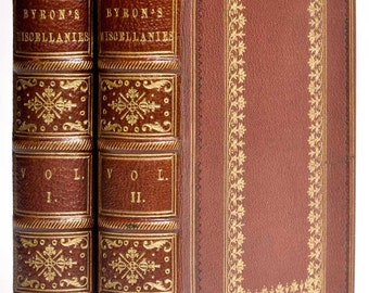 Miscellanies by Lord Byron, two volumes. 1853 (Brown leather gilt tooled binding)