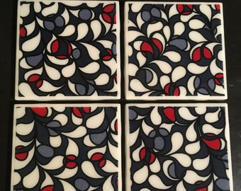 Black, White and Red Tile Coasters