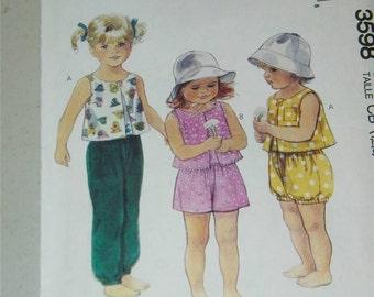 Vintage McCalls Girls Pants Shorts Top Pattern 3598 12796 Size 1 2 3