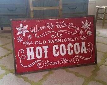 HOT COCOA BAR Hand Painted Framed Wood Sign Christmas Decor Hot Chocolate Bar Farmhouse