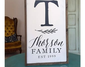 Family Name and Initial Monogram Sign PERSONALIZED Established Date Magnolia Farm Joanna Fixer Upper