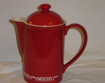 Retro collectible Nescafe coffee pot kilncraft 1980s very good condition a better way to start your day! red white vintage coffee