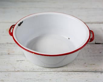 Vintage White and Red Enameled Pot-Food Photography Props