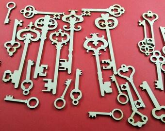 Skeleton keys wooden cutouts sampler, valentine's day decoration, scrapbook embellishment, unfinished wooden keys