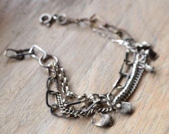 multi strand silver bracelet, statement bracelet, handmade sterling silver brancelet, charm bracelet charm silver bracelet