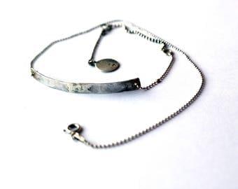 Sterling Silver Bracelet Minimalist Modern Jewelry oxidized Ball Chain Bar Bracelet silver bracelet