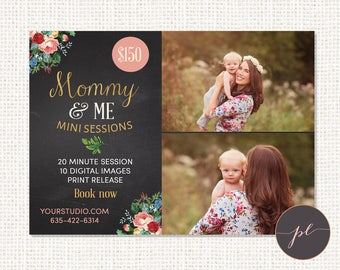 Mommy and Me Mini Session, Mother's Day Photography, Marketing Template, Floral Chalkboard Template, Photoshop Marketing Board