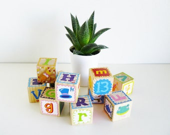 Vintage Alphabet Wooden Blocks Baby Nursery Home Decor Photography Prop Set of 10