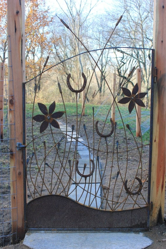 garden gate, custom made with weathered steel