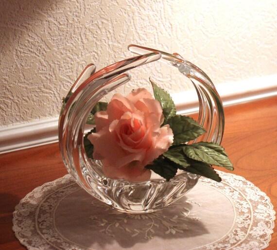Empty Pocket style baccarat crystal vintage basket