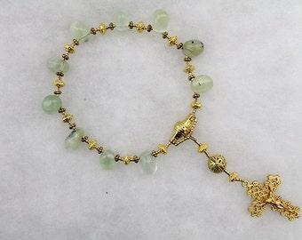 Green Prehnite Tenner rosary; Handmade; pocket rosary, single decade rosary; catholic prayer beads