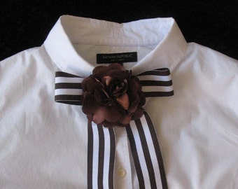 Brown and White Stripe Bow Tie Scarf With Flower
