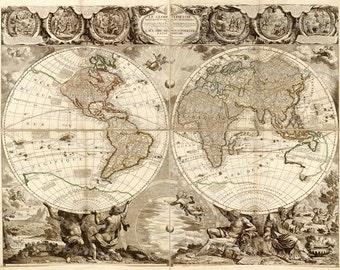 Vintage Old World Map/Image Download Retro Style Design/Resource Old Map Digital Prints/1708