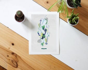 Botanical poster. Philodendron #TROPICALE - 1;  Limited edition natural & graphic poster. Wall decoration. Jungle print
