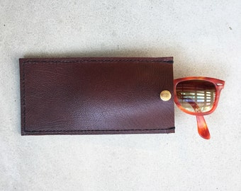 Leather Sunglasses Case - Red