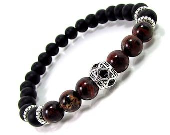 Onyx and Brecciated Jasper Bracelet,Men Bracelet,Mens Gift,Mens Bracelet,Men Gemstone Bracelet,Bracelet for Men,Gift for Him,Beaded Bracelet