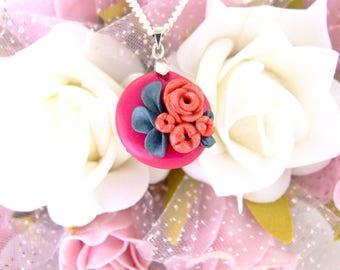 Floral Necklace, Floral Pendant, Flower Necklace, Pink Necklace, Rose Necklace, Rose Pendant, Floral, Gift for her, unique, handmade