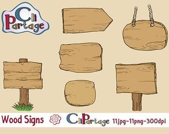 WOOD SIGNS Cliparts, wood ClipArts,  Instant Download, Clip Art Vectors, Clip Art