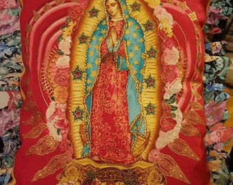 Hand Beaded Virgen de Guadalupe Pillow with printed lace