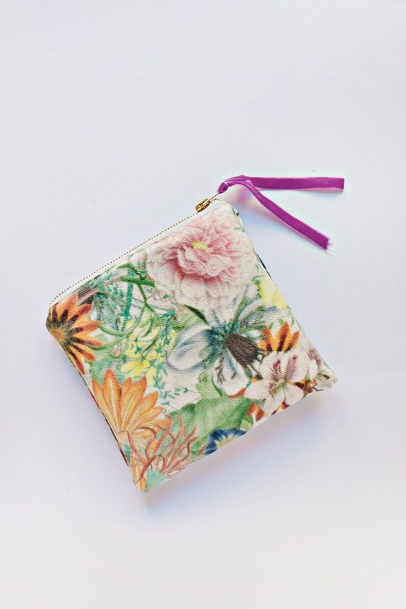 Makeup Bag, Zipper Pouch, Geometric Square Makeup Case, Cosmetic Case, Floral Pouch, Womens Toiletry Bag, Suede, Beauty Bag