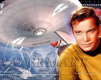Star Trek, Shatner, Star Trek Art, Star Trek Print, Star Trek Poster, Star Trek Wall Art - Kirk - Spock - 12x18 - 24x36 (JS1012)