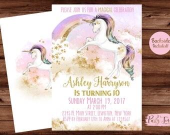 Rainbow Unicorn Invitation - Unicorn Invitation - Unicorn Invite - Unicorn Party Invitation- Unicorn Birthday Invitation - UNICORN