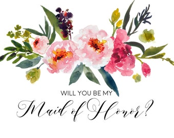 Watercolor Floral Maid of Honor Invitation