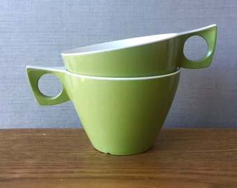 Pair of Green Ornamin Ware Melmac 1970s Picnic Cups