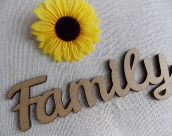 "3D lettering ""Family"" - Typo, Decoration, Hardfibre, Gift, Wall decor"