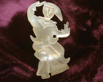 Mother of Pearl Siamese hand carved Brooch/Pin of a dancing man/lady