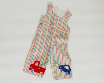 vintage baby bell bottom overalls rainbow striped