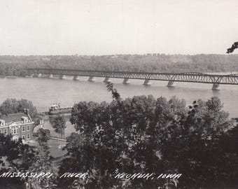 Keokuk, Iowa Vintage Postcard - Mississippi River, Keokuk Municipal Bridge, Hamilton Illinois, Real Photo Postcard
