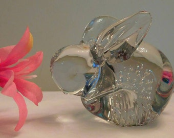 Clear Glass Paperweight Bunny Rabbit handmade controlled  bubbles SHIPPING INCLUDED