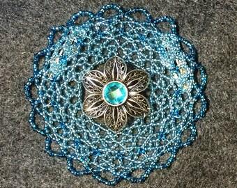 Beaded Kippah, Beaded Kippot, Womens Yarmulke, Kippa, Head Covering, Sparkling Blue Beads with Flower Charm