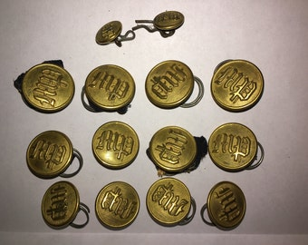 Vintage Massachusetts Police Brass Buttons Vintage Buttons and Cuff Buttons - #35J