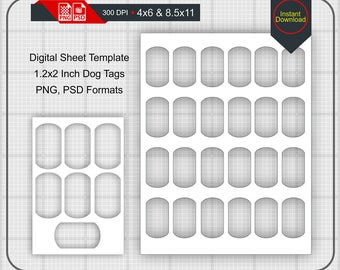 """Instand Download 1.2x2 Inch Military Dog Tags Templates on 4""""x6"""" and 8.5""""x11"""" Sheets, DXF, PNG, PSD"""