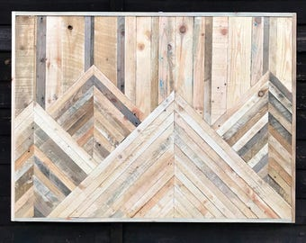 Mountain Landscape Wood Art Reclaimed Wood Pallet Wood FREE UK Delivery Wood&Broome Design