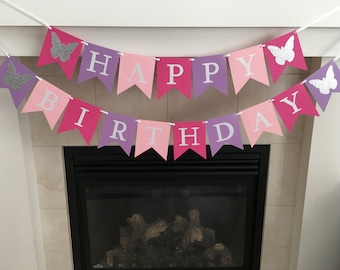 Butterfly Birthday Banner, Happy Birthday Banner, Girl Birthday Decoration, Party Decor, Photo Prop, Purple, Pink, Light Pink, Back Drop