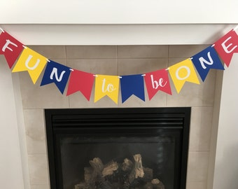 Fun To Be One Banner, First Birthday Banner, 1st Birthday Banner, Photo Prop, Party Decorations, Boy or Girl First Birthday, Cake Smash